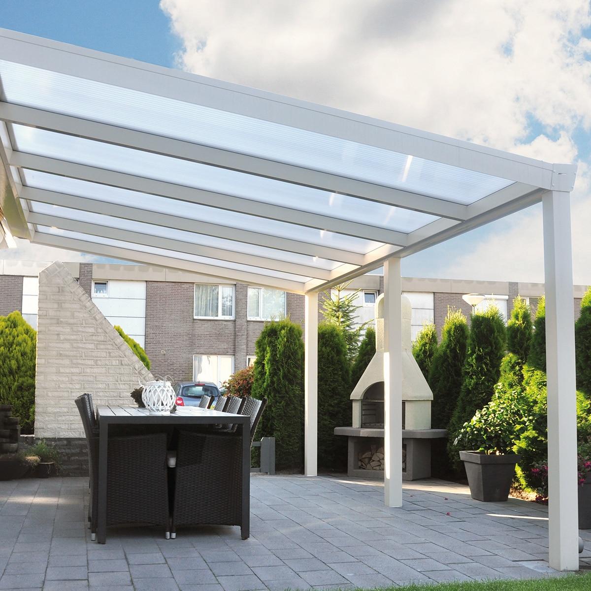 Terrassenüberdachung CC110 Polycarbonat Weiß
