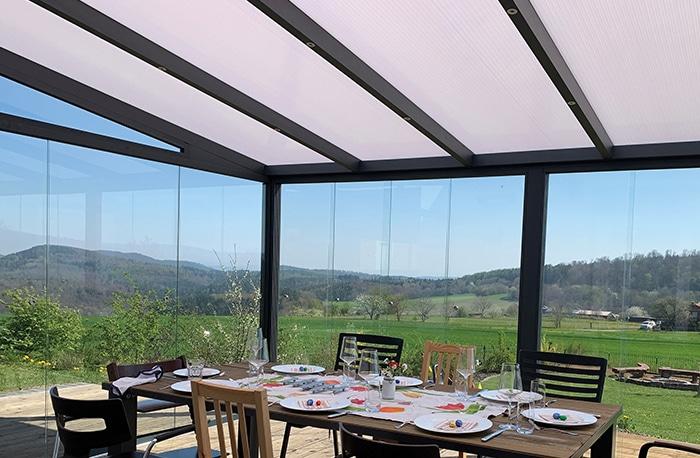 Terrassenüberdachung Polycarbonat mit Glasschiebewand